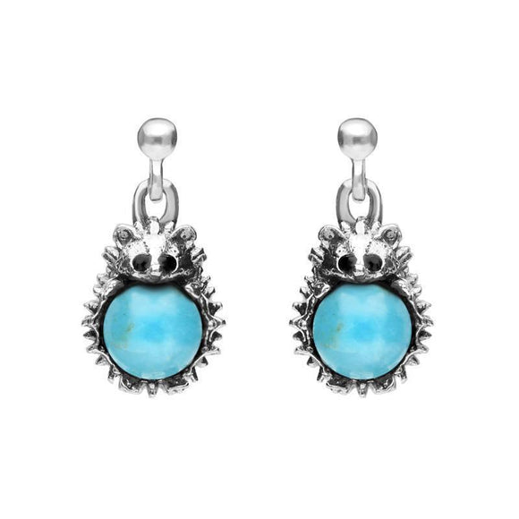 Sterling Silver Turquoise Tiny Hedgehog Drop Earrings, E2428