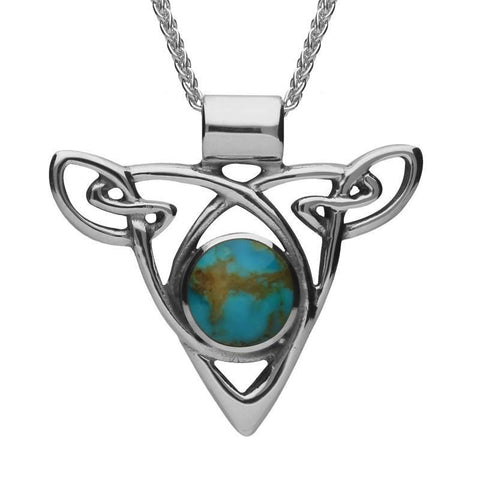 Sterling Silver Turquoise Triangle Knot Celtic Necklace