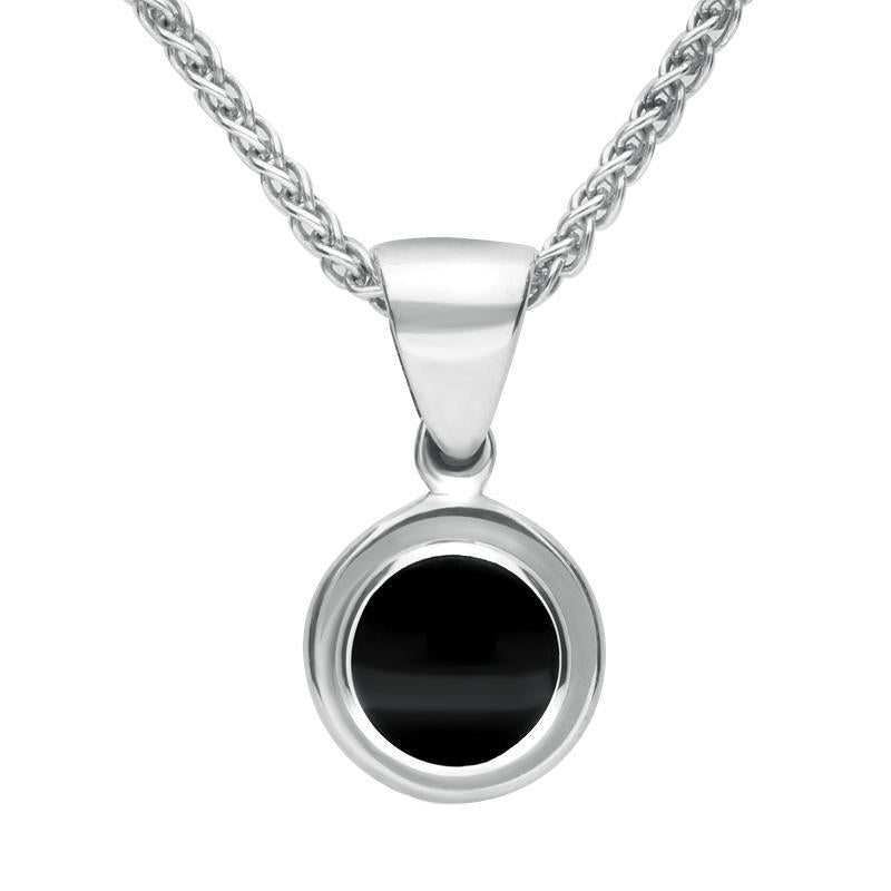 Sterling Silver Whitby Jet Round Ribbed Necklace
