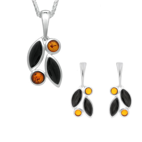 Sterling Silver Whitby Jet Amber Four Stone Leaf Drop Two Piece Set