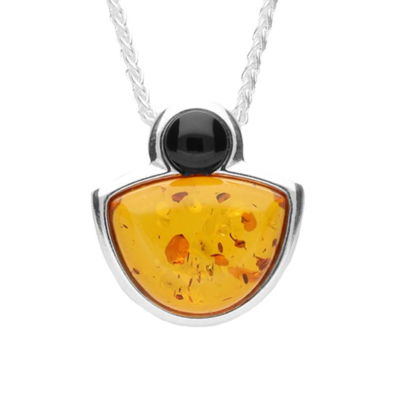 Sterling Silver Whitby Jet Amber Half Moon Necklace