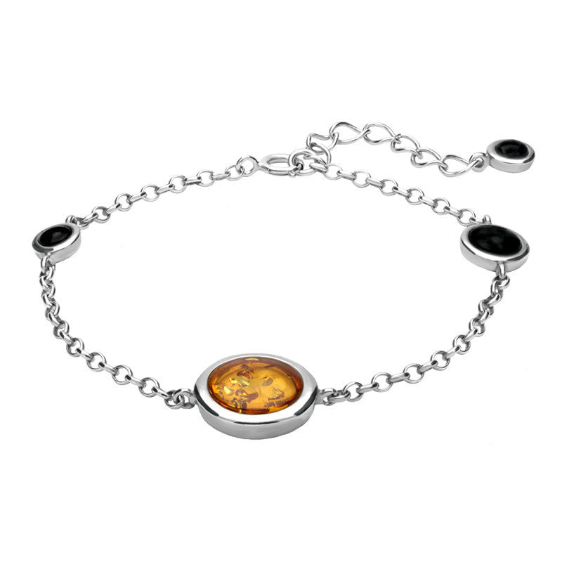 Sterling Silver Whitby Jet Amber Round Four Stone Bracelet