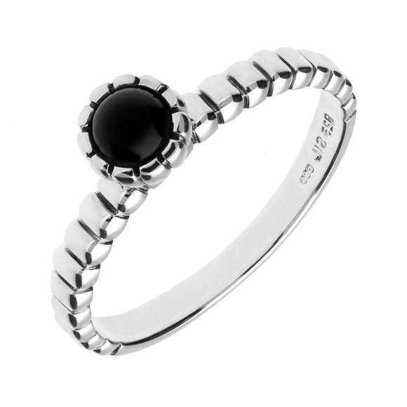 Sterling Silver Whitby Jet Beaded Edge Round Stacking Ring R1061