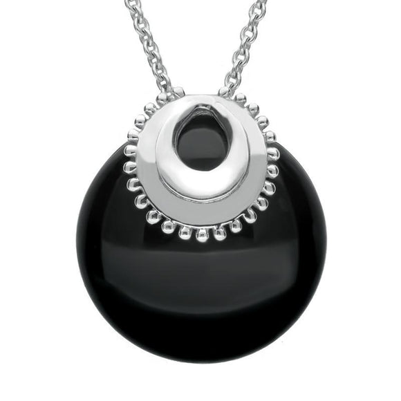 Sterling Silver Whitby Jet Capped Necklace P2545