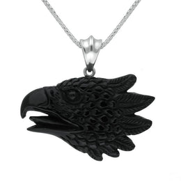 Sterling Silver Whitby Jet Carved Phoenix Head Necklace PUNQ0006186