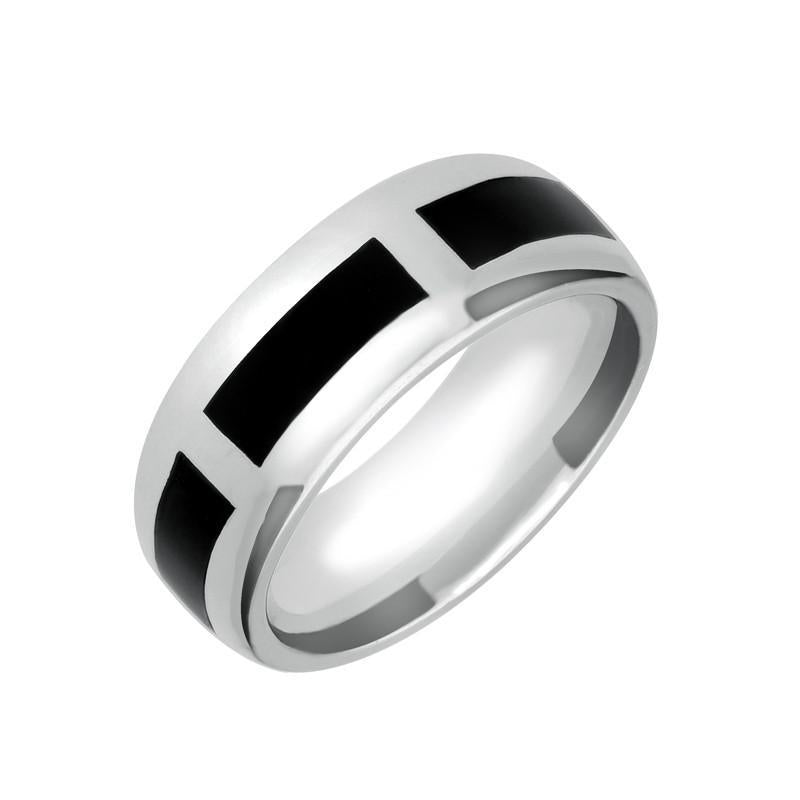 Sterling Silver Whitby Jet Channel 8mm Wedding Band Ring