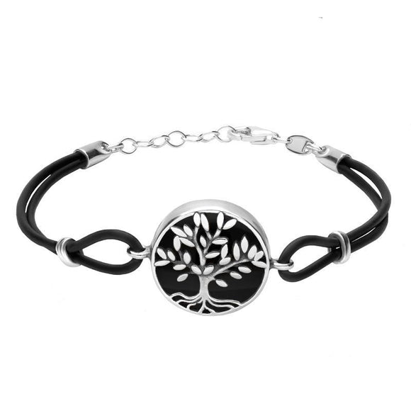 Sterling Silver Whitby Jet Cord Round Large Leaf Tree Bracelet, B1141