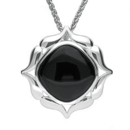 Sterling Silver Whitby Jet Cushion Fancy Edge Necklace P3135