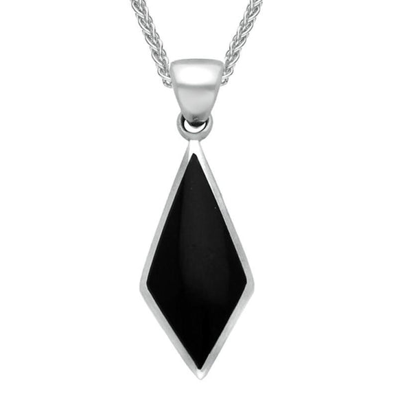 Sterling Silver Whitby Jet Diamond Shaped Pendant Necklace. P390.