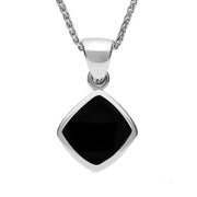Sterling Silver Whitby Jet Dinky Cushion Necklace P452