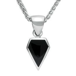 Sterling Silver Whitby Jet Dinky Kite Necklace P455