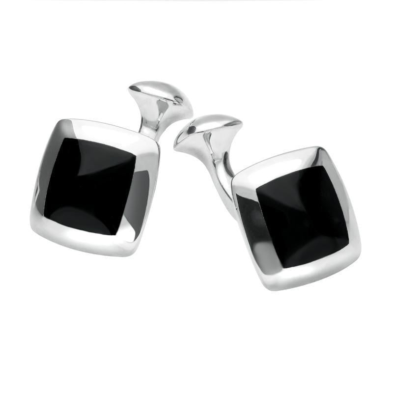 Sterling Silver Whitby Jet Domed Square Cufflinks