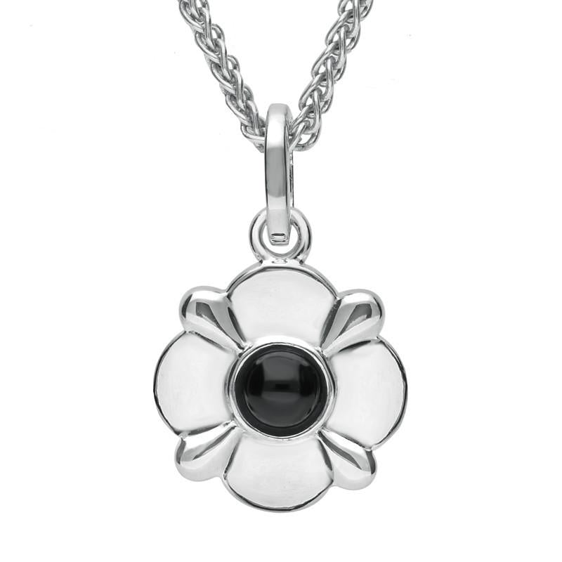 Sterling Silver Whitby Jet Four Petal Flower Necklace