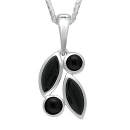 Sterling Silver Whitby Jet Four Stone Leaf Necklace P2357