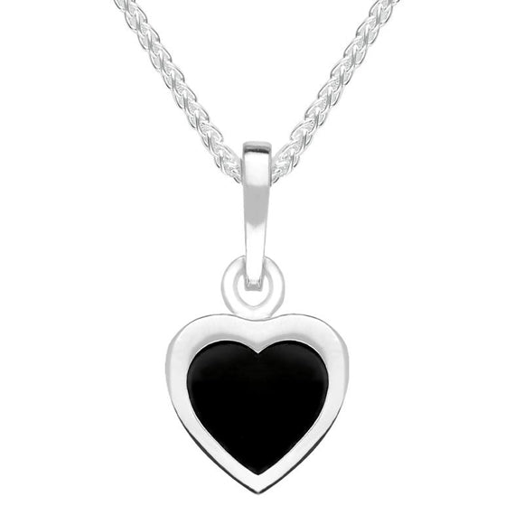 Sterling Silver Whitby Jet Heart Necklace P678
