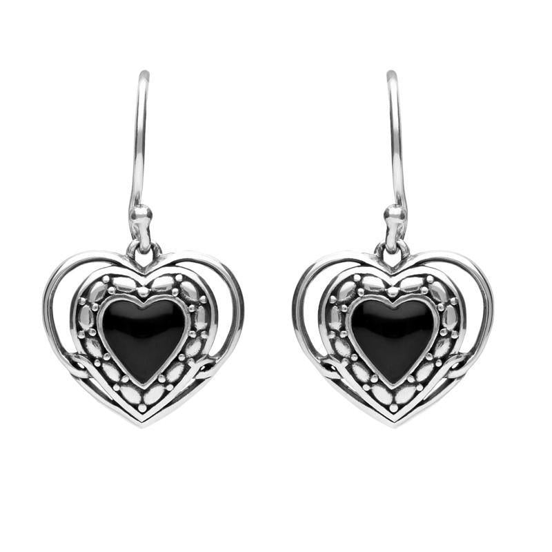 Sterling Silver Whitby Jet Heart in Heart Drop Hook Earrings
