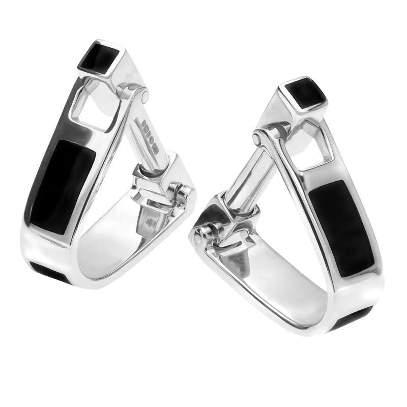 Sterling Silver Whitby Jet Inlaid Oblong Hoop Cufflinks