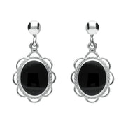 Sterling Silver Whitby Jet Large Oval Rope Frill Drop Earrings E080