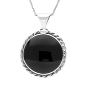 Sterling Silver Whitby Jet Large Rope Edge Necklace P129
