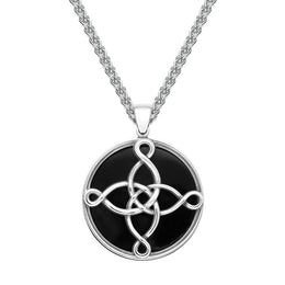 Sterling Silver Whitby Jet Large The Mission Logo Necklace P3420