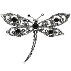 Sterling Silver Whitby Jet Marcasite Five Stone Dragonfly Brooch