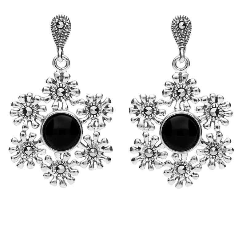 Sterling Silver Whitby Jet Marcasite Flower Petal Drop Stud Earrings