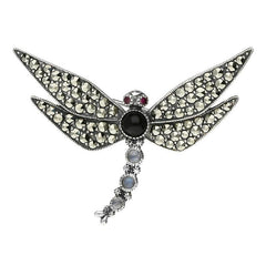 Sterling Silver Whitby Jet Marcasite Garnet Moonstone Dragonfly Brooch
