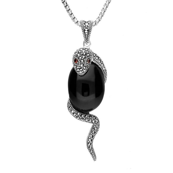 Sterling Silver Whitby Jet Marcasite Garnet Necklace P3122C