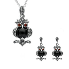 Sterling Silver Whitby Jet Marcasite Garnet Owl Two Piece Set