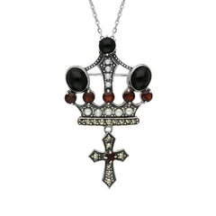 Sterling Silver Whitby Jet Marcasite Garnet Pearl Crown & Cross Necklace
