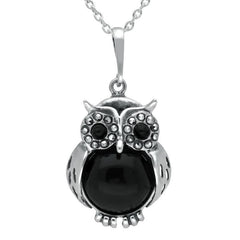 Sterling Silver Whitby Jet Marcasite Medium Owl Necklace