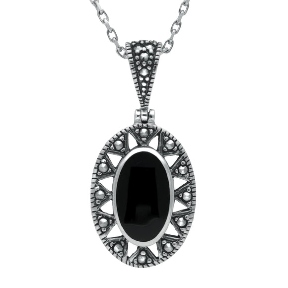 Sterling Silver Whitby Jet Marcasite Oval Necklace. P1323.