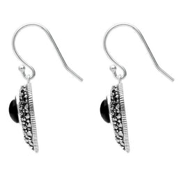 Sterling Silver Whitby Jet Marcasite Oval Swirl Heart Hook Earrings E2304