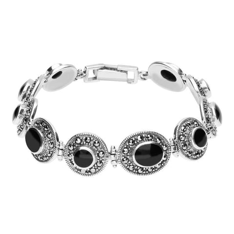 Sterling Silver Whitby Jet Marcasite Oval and Round Link Bracelet