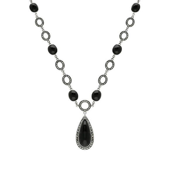 Sterling Silver Whitby Jet Marcasite Pear Drop Oval Chain Necklace, N915.