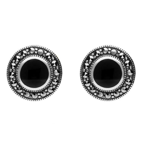 Sterling Silver Whitby Jet Marcasite Round Beaded Edge Stud Earrings