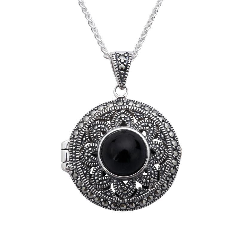 Sterling Silver Whitby Jet Marcasite Round Floral Locket Necklace