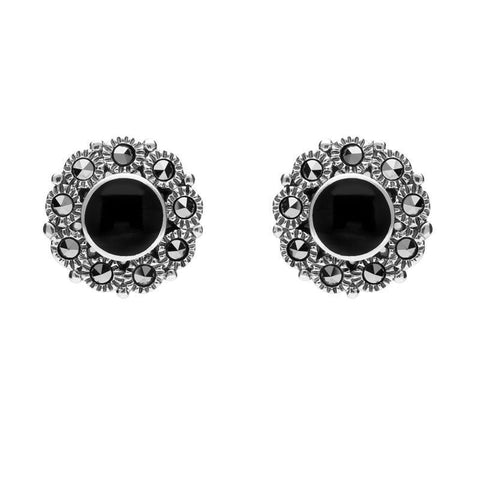Sterling Silver Whitby Jet Marcasite Round Stud Earrings