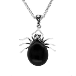Sterling Silver Whitby Jet Marcasite Spider Necklace P3447
