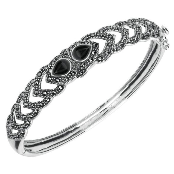 Sterling Silver Whitby Jet & Marcasite Two Stone Pear Bangle. B881