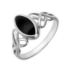 Sterling Silver Whitby Jet Marquise Celtic Ring
