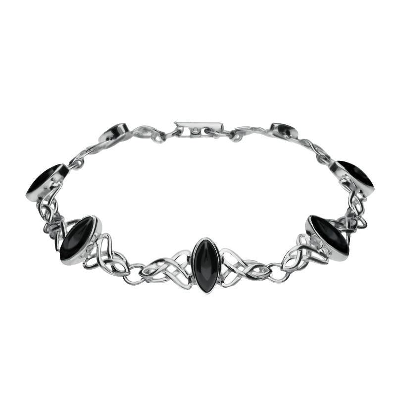 Sterling Silver Whitby Jet Marquise Shaped Celtic Bracelet