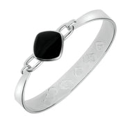 Sterling Silver Whitby Jet Medium Heavy Cushion Bangle B036