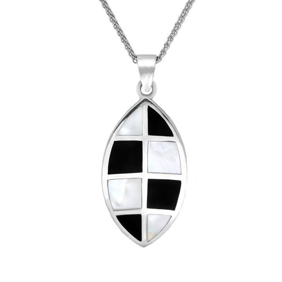 Sterling Silver Whitby Jet Mother of Pearl Eight Stone Curved Marquise Necklace P1277