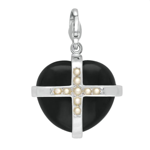 Sterling Silver Whitby Jet Nine Pearl Large Cross Heart Charm