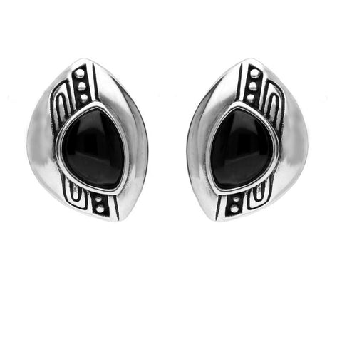 Sterling Silver Whitby Jet Offset Beaded Line Stud Earrings