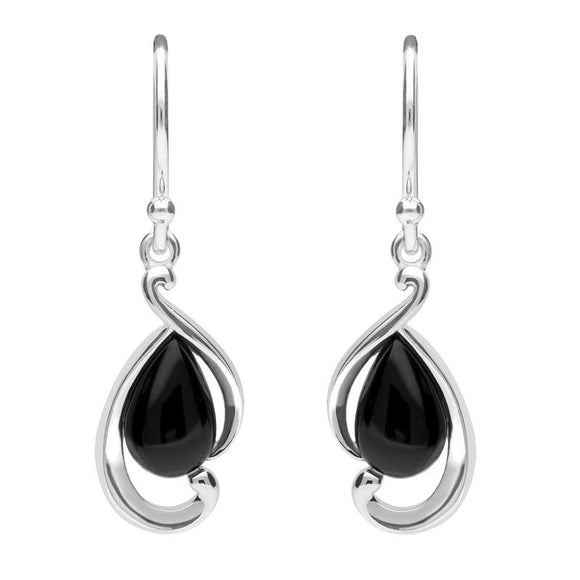 Sterling Silver Whitby Jet Open Fancy Pear Drop Earrings E2316