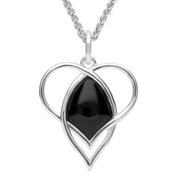 Sterling Silver Whitby Jet Open Heart Twist Necklace P3130