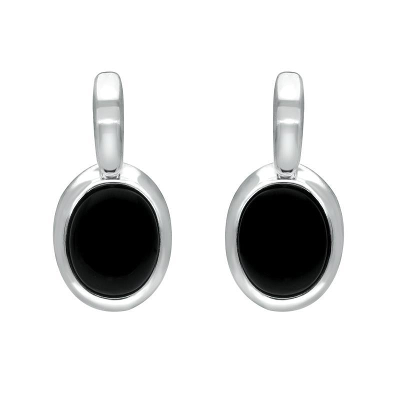 Sterling Silver Whitby Jet Oval Drop Earrings