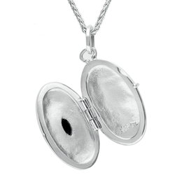 Sterling Silver Whitby Jet Oval Locket. P2089